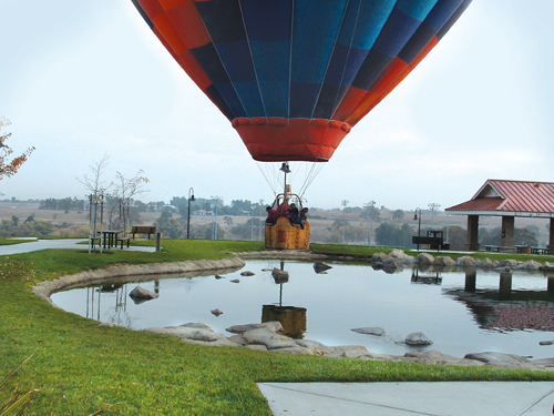 Balloon over pond