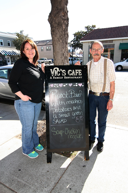 Larry Eastwood and his wife, Jan, have owned and operated Vic's Cafe since 1973. He is pictured with their daughter Cheri, who is both Manager and Chef at the local eatery.