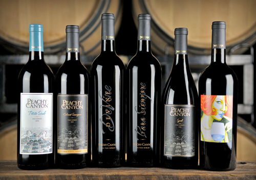Peachy Canyon Winery's Ms. Behave Malbec (far right) recently won a Double Gold at the San Francisco Chronicle Wine Competition.