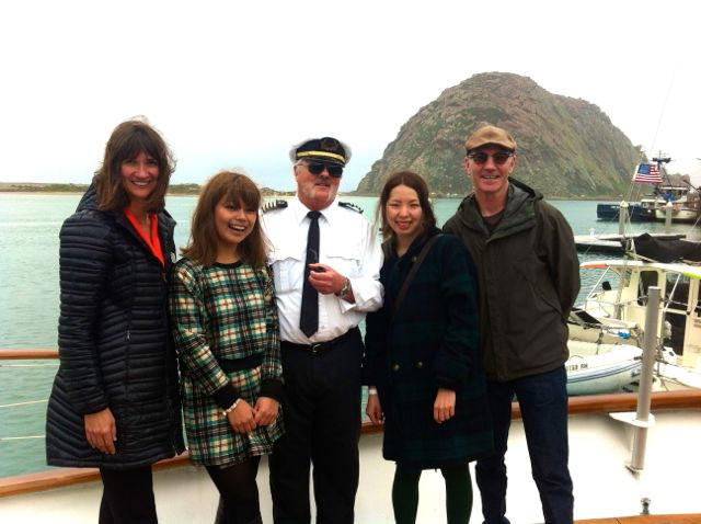 Visitors from Japan were welcomed to Morro Bay when they stopped here for a sightseeing cruise during a Discover America Road Trip. From left: City Councilmember Christine Johnson, Yamamosa Rita, Capt. Randy Ryan, Nagisa Fugikato and Morro Bay Mayor Jamie Irons.