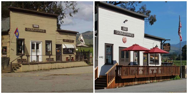 Before and after the remodel of Hearst Ranch's San Simeon location in the historic Sebastian's Store building.