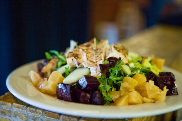 A healthy and delicious option is the beet salad, filled with fresh local beets, goat cheese and topped with sherry vinaigrette.
