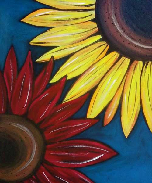 "Local artist Skye Ravy will lead the class on how to re-create her painting, ""Sunflowers."""